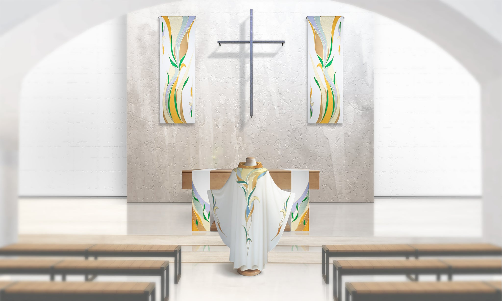 Water & Foliage <br> Altar Scarves in White