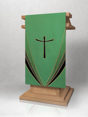 Curvilinear Cross Lectern Hanging <br> in Green