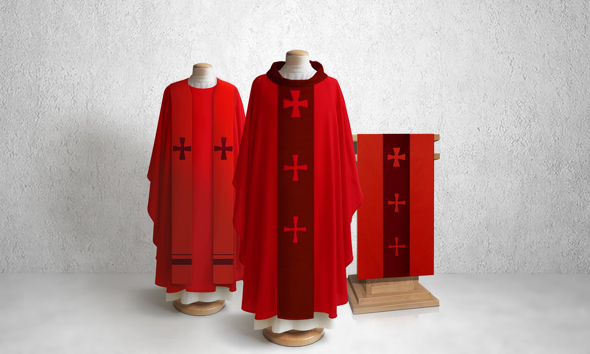376 Crucifixion Lectern Hanging in Red