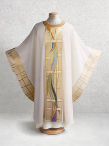 Stained Glass Chasuble in White & Gold