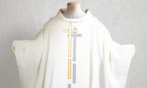 Reflection Cross Chasuble in White