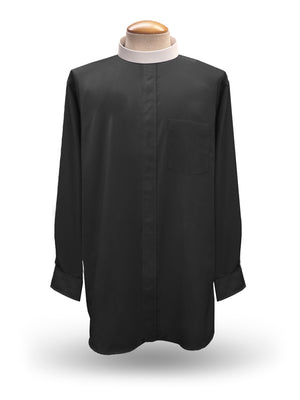 Men's Long Sleeve <br> Neckband Clergy Shirt <br> in Black