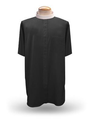 Men's Short Sleeve <br> Neckband Clergy Shirt <br> in Black