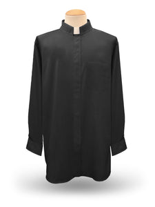 Men's Long Sleeve <br> Tab Collar Clergy Shirt <br> in Black