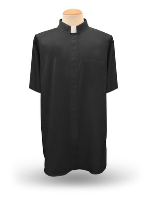 Men's Short Sleeve <br>Tab Collar Clergy Shirt <br> in Black