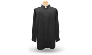 Men's Long Sleeve <br> Tab-Collar Clergy Shirt <br> in Black