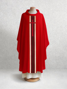 378 True Cross Chasuble in Red