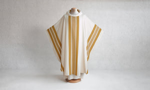 Pillar Woven Chasuble in White & Gold