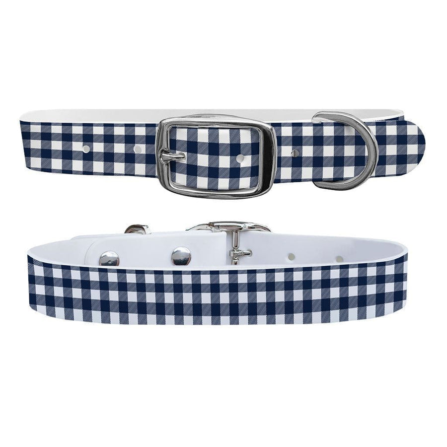 Flannel Navy White Dog Collar Dog Collar C4 BELTS