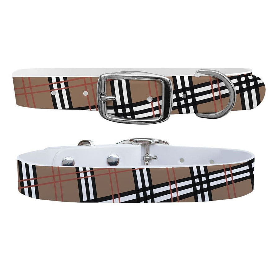 Khaki Plaid Dog Collar Dog Collar C4 BELTS