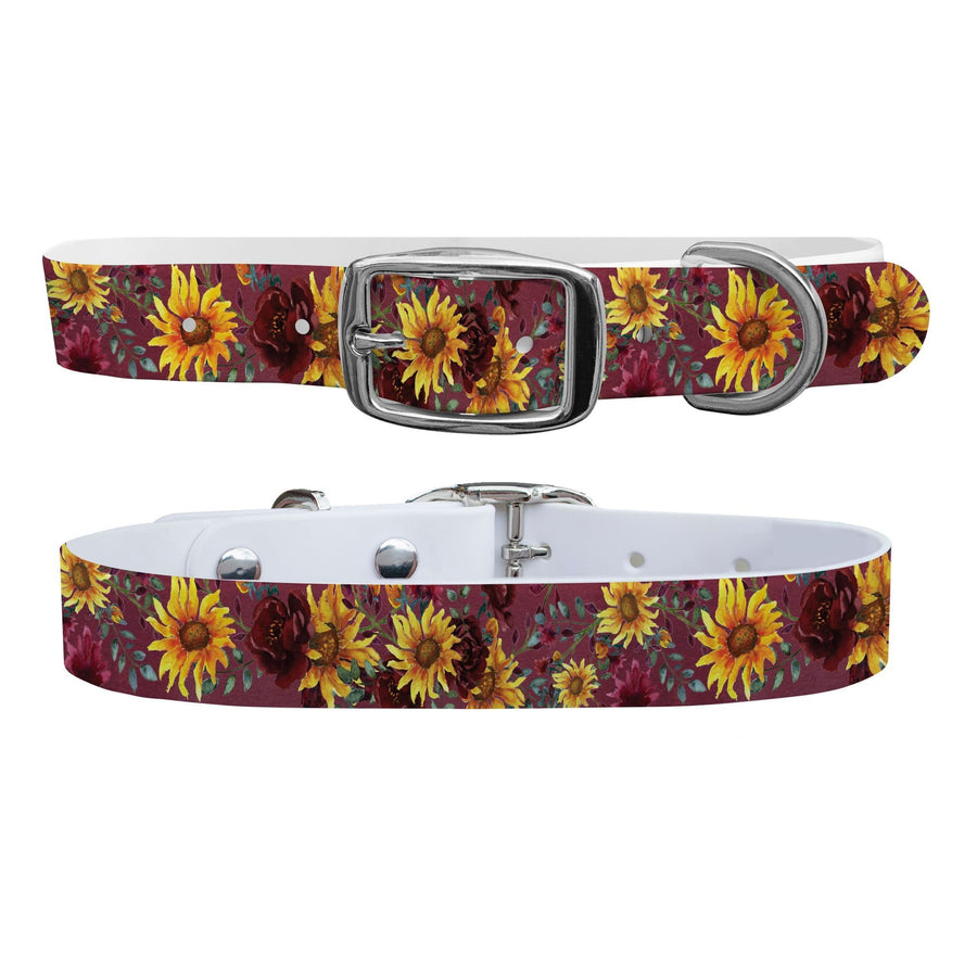 Merlot Sunflowers Dog Collar Dog Collar C4 BELTS