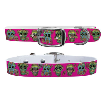 Sugar Skulls Hot Pink Dog Collar Dog Collar C4 BELTS
