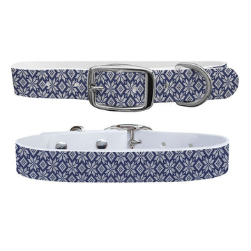 Snowflake Navy Knit Dog Collar Dog Collar C4 BELTS