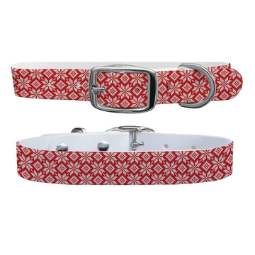 Snowflake Red Knit Dog Collar Dog Collar C4 BELTS