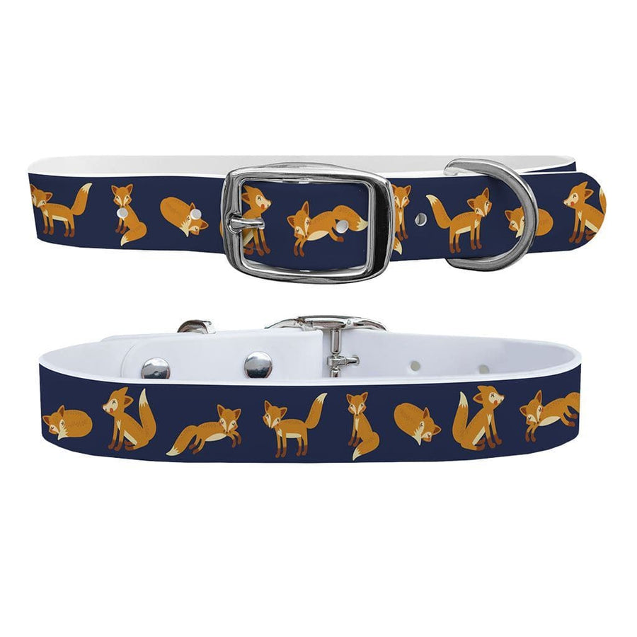 ETA Playing Foxes Navy Dog Collar Dog Collar C4 BELTS