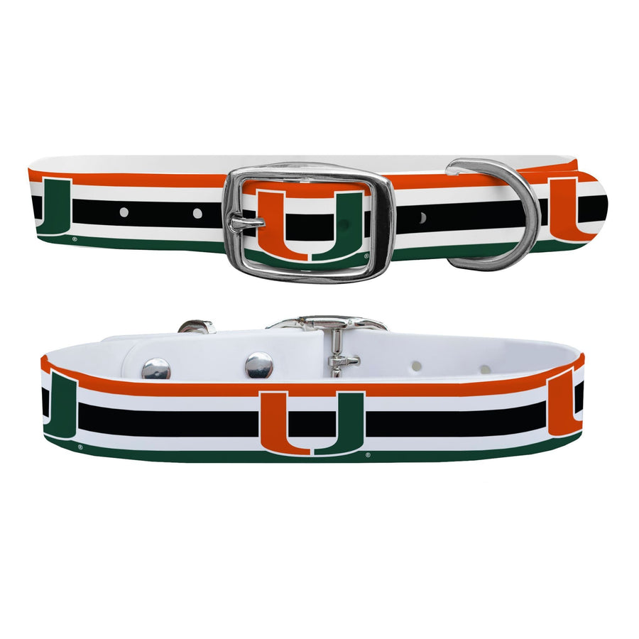 University of Miami Stripes Dog Collar Dog Collar C4 BELTS