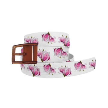 Decidedly Equestrian - Pink Floral White Belt Belt-Classic C4 BELTS