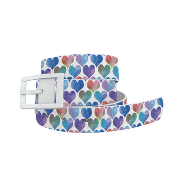 Watercolor Hearts Blue Belt Belt-Classic C4 BELTS