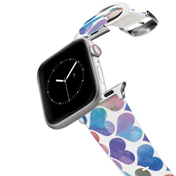 Watercolor Hearts Blue Apple Watch Band Apple Watch Band C4 BELTS