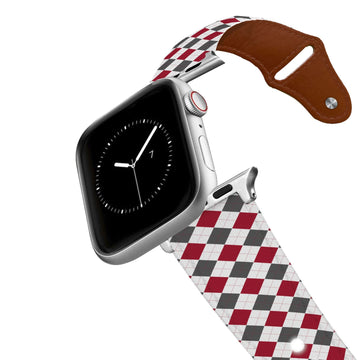 University of Alabama Argyle Team Spirit Leather Apple Watch Band Apple Watch Band - Leather C4 BELTS