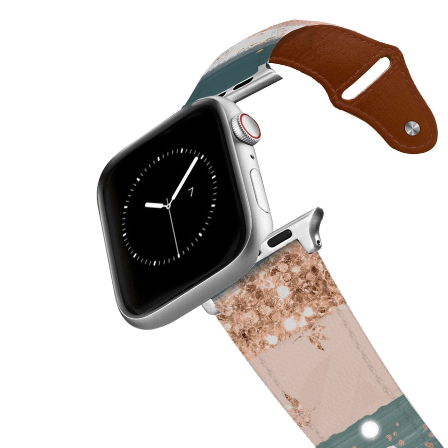 Blush Strokes Leather Apple Watch Band Apple Watch Band - Leather C4 BELTS