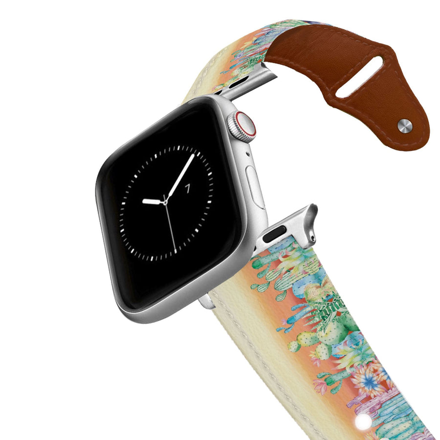 Desert Flora Leather Apple Watch Band Apple Watch Band - Leather C4 BELTS