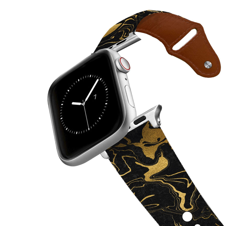Gold Drip Black Leather Apple Watch Band Apple Watch Band - Leather C4 BELTS