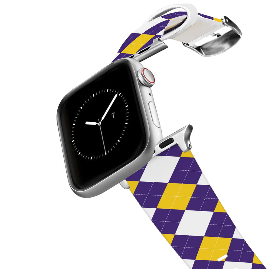 Louisiana State University Argyle Team Spirit Apple Watch Band Apple Watch Band C4 BELTS