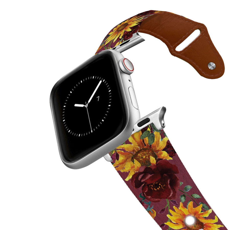 Merlot Sunflowers Leather Apple Watch Band Apple Watch Band - Leather C4 BELTS