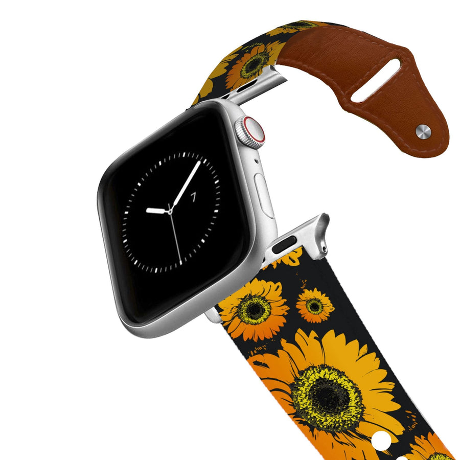 Sunflower Black Leather Apple Watch Band Apple Watch Band - Leather C4 BELTS