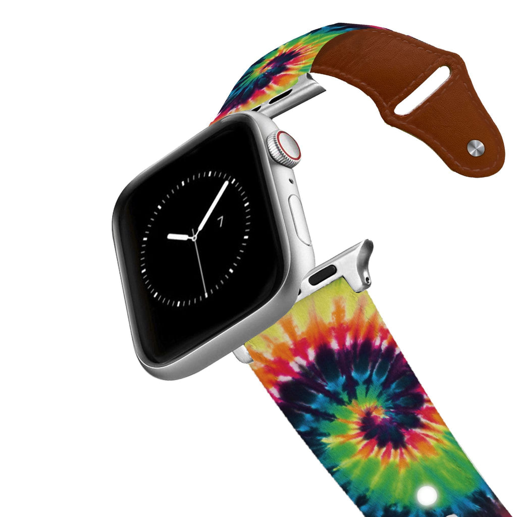 Sunset Tie Dye Leather Apple Watch Band Apple Watch Band - Leather C4 BELTS