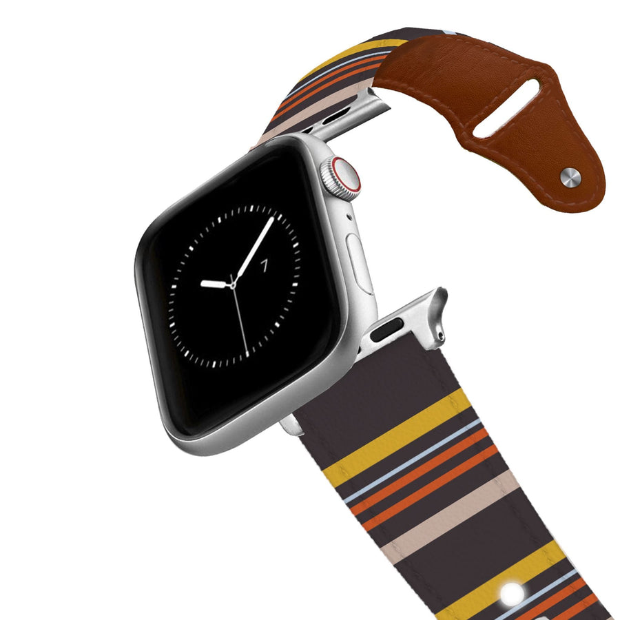 Retro Stripes Warm Leather Apple Watch Band Apple Watch Band - Leather C4 BELTS