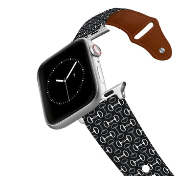 Bits Black Black Leather Apple Watch Band Apple Watch Band - Leather C4 BELTS