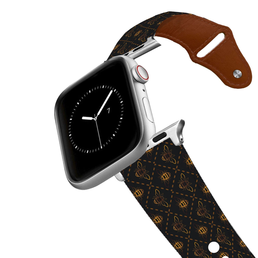 Bees Black Leather Apple Watch Band Apple Watch Band - Leather C4 BELTS