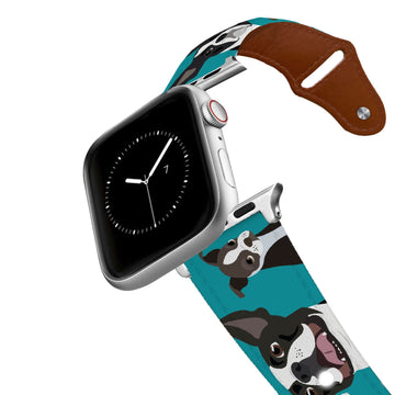 Boston Terrier Leather Apple Watch Band Apple Watch Band - Leather C4 BELTS