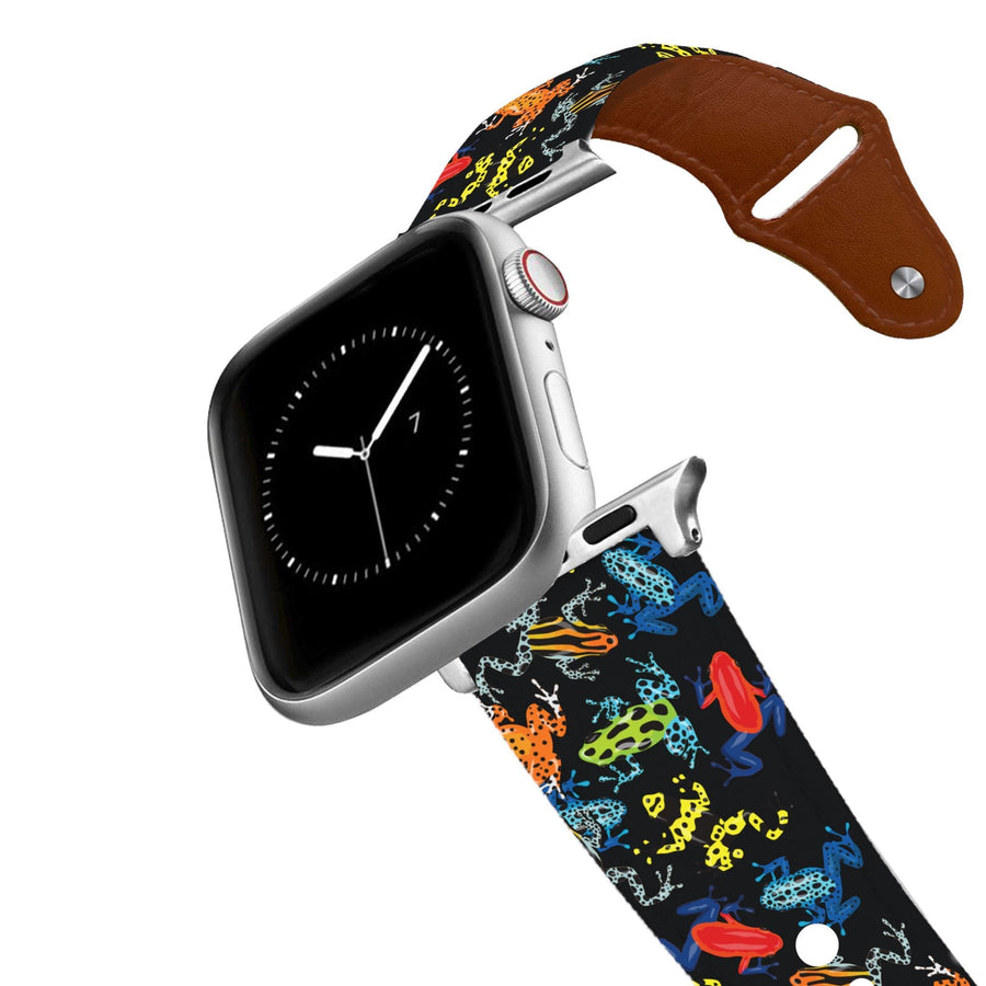 Dart Frogs Black Leather Apple Watch Band Apple Watch Band - Leather C4 BELTS