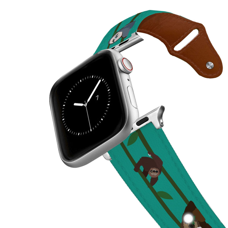 Swinging Sloths Leather Apple Watch Band Apple Watch Band - Leather C4 BELTS