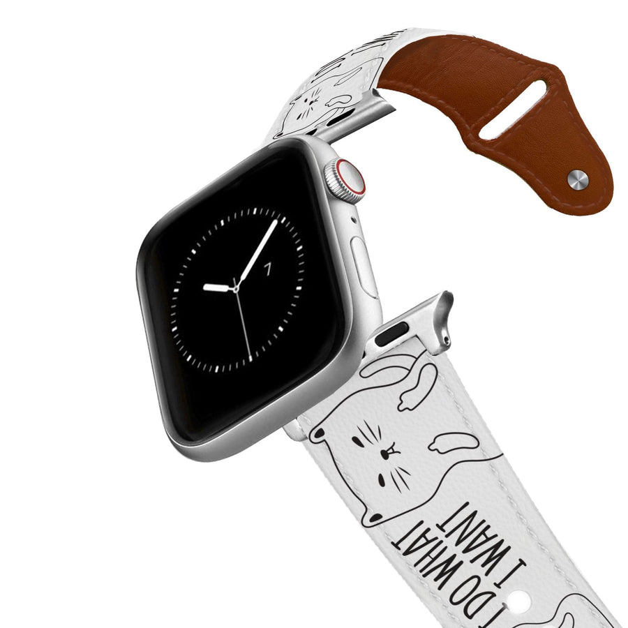 I Do What I Want Cat Leather Apple Watch Band Apple Watch Band - Leather C4 BELTS