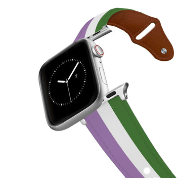 Gender Queer Flag Leather Apple Watch Band Apple Watch Band - Leather C4 BELTS