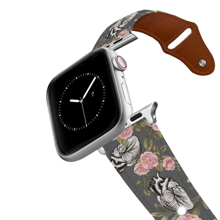 Hearts And Flowers Leather Apple Watch Band Apple Watch Band - Leather C4 BELTS