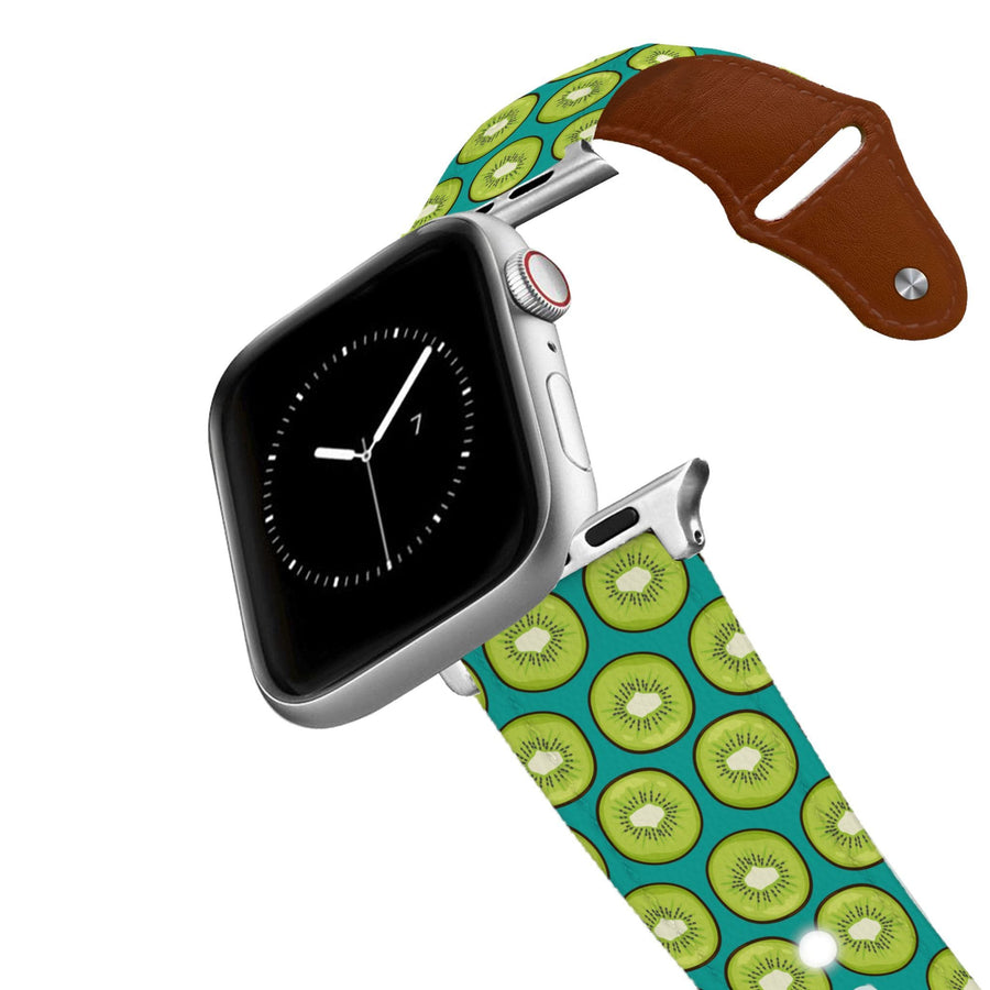 Kiwi Blue Leather Apple Watch Band Apple Watch Band - Leather C4 BELTS