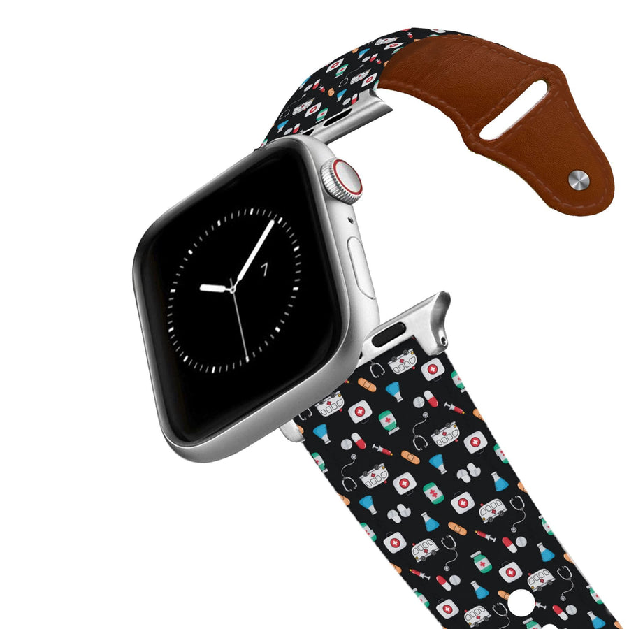 Medicine Black Leather Apple Watch Band Apple Watch Band - Leather C4 BELTS