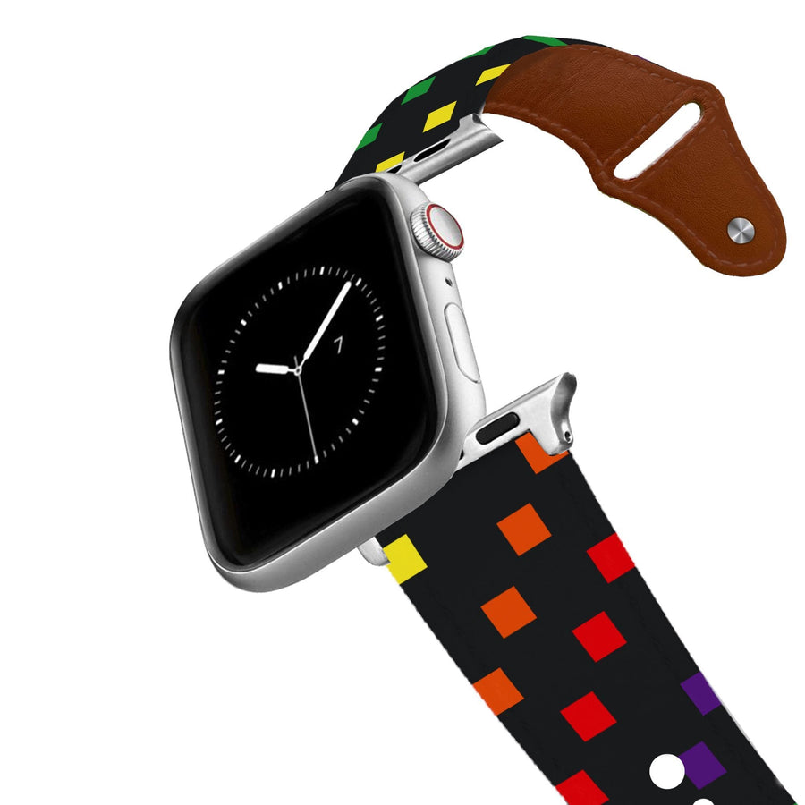 Pixel Pride Black Leather Apple Watch Band Apple Watch Band - Leather C4 BELTS