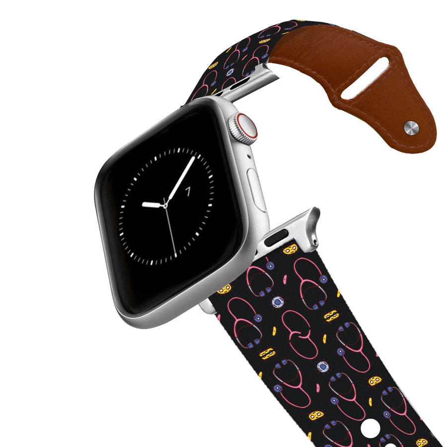Stethoscope Black Leather Apple Watch Band Apple Watch Band - Leather C4 BELTS