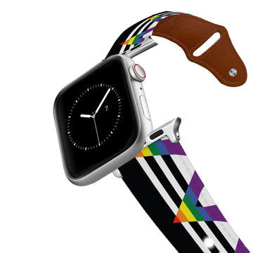 Rainbow Ally Flag Leather Apple Watch Band Apple Watch Band - Leather C4 BELTS