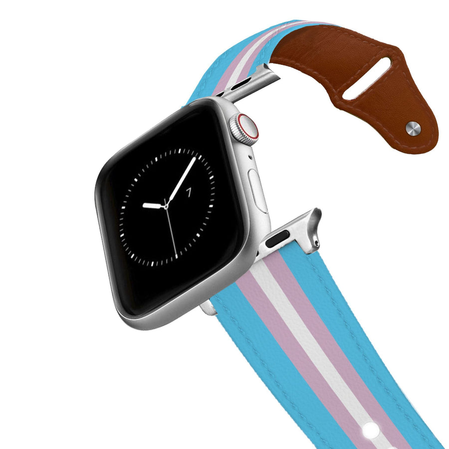 Transgender Flag Leather Apple Watch Band Apple Watch Band - Leather C4 BELTS