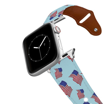 The Red White and Blue Leather Apple Watch Band Apple Watch Band - Leather C4 BELTS