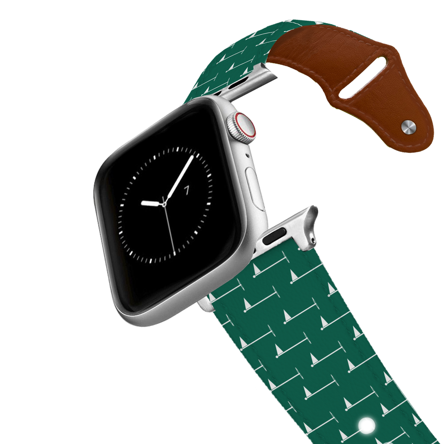 Hole In One - Green Leather Apple Watch Band