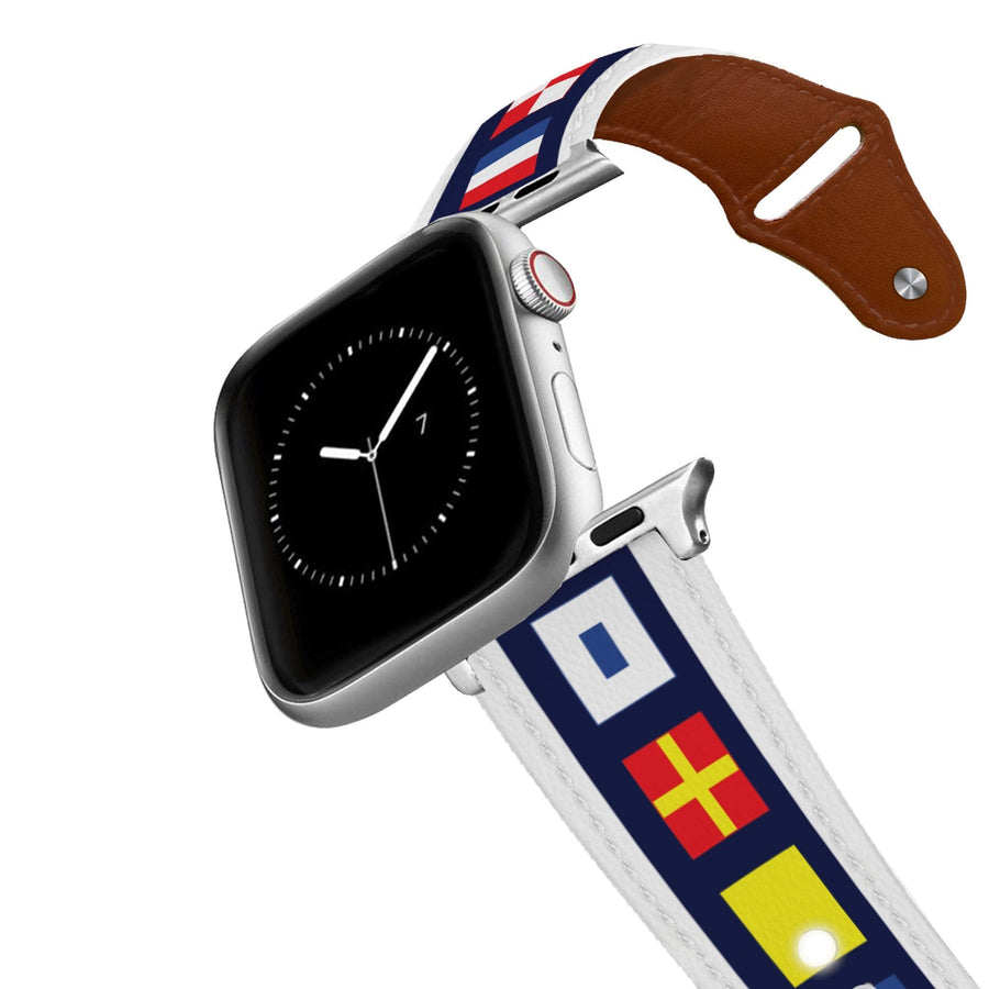 Nautical Flags Leather Apple Watch Band Apple Watch Band - Leather C4 BELTS