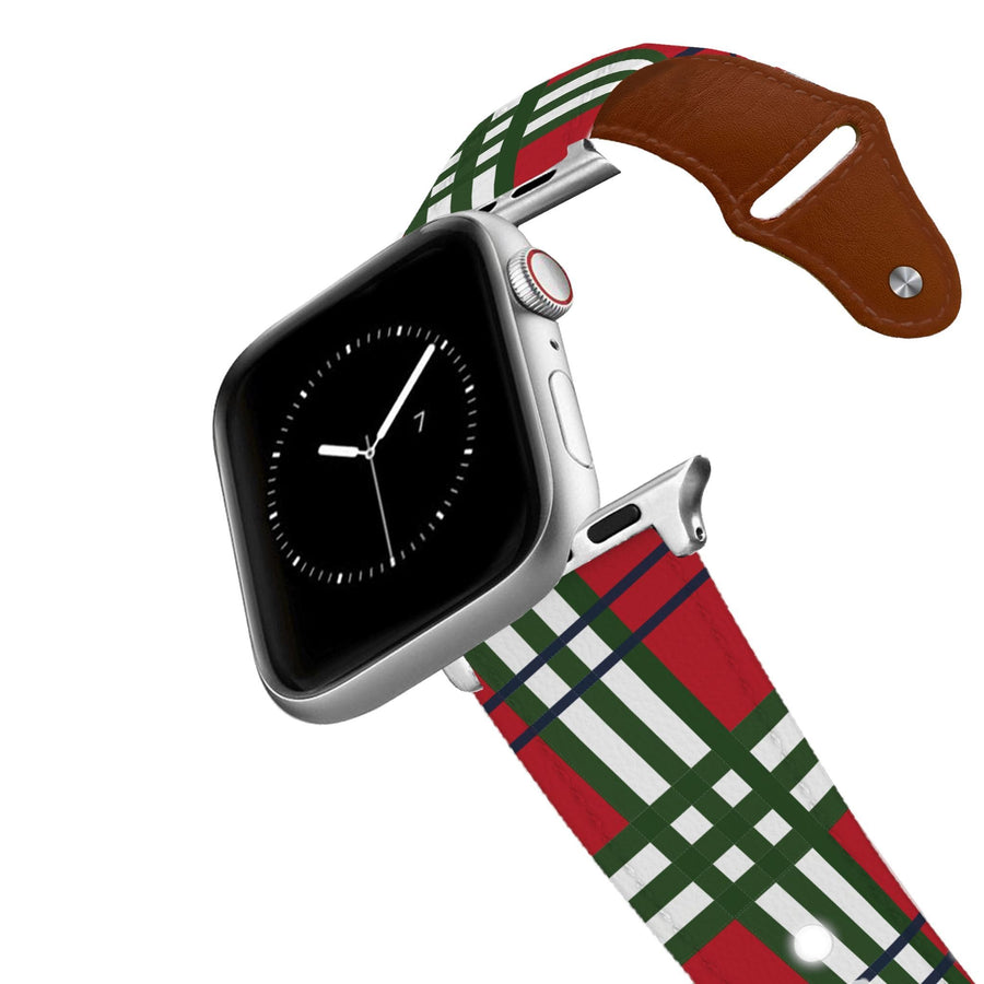 Holiday Plaid Leather Apple Watch Band Apple Watch Band - Leather C4 BELTS